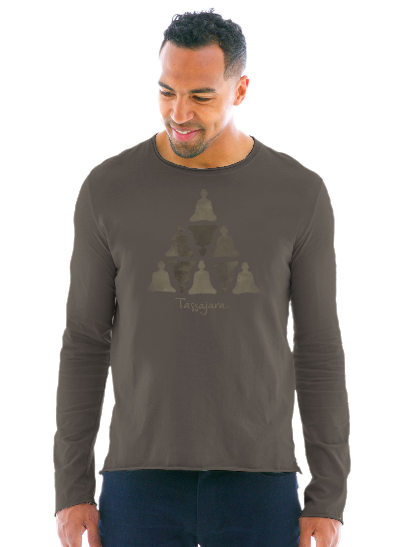 Men's Raw Edge Long Sleeve Crew T-Shirt