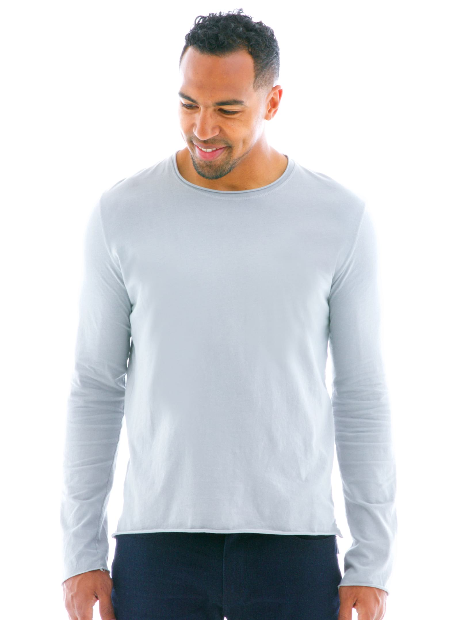 Raw Edge Long Sleeve Crew T-Shirt Front View
