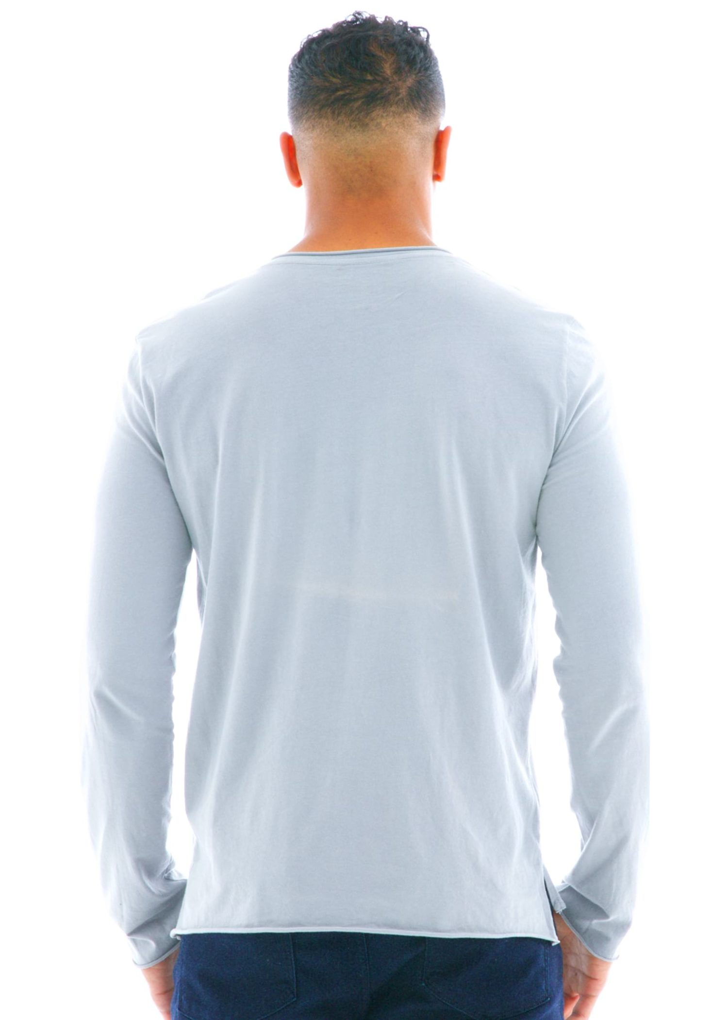 Raw Edge Long Sleeve Crew T-Shirt Back View