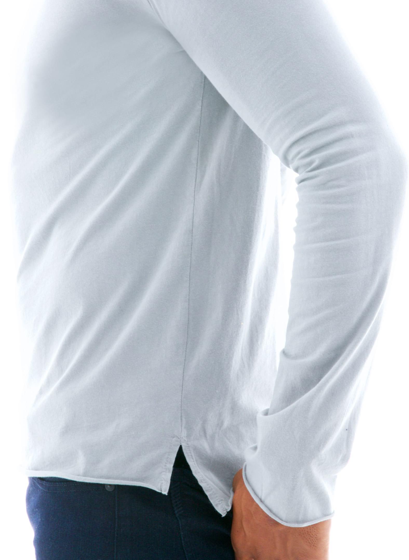 Raw Edge Long Sleeve Crew T-Shirt Side View