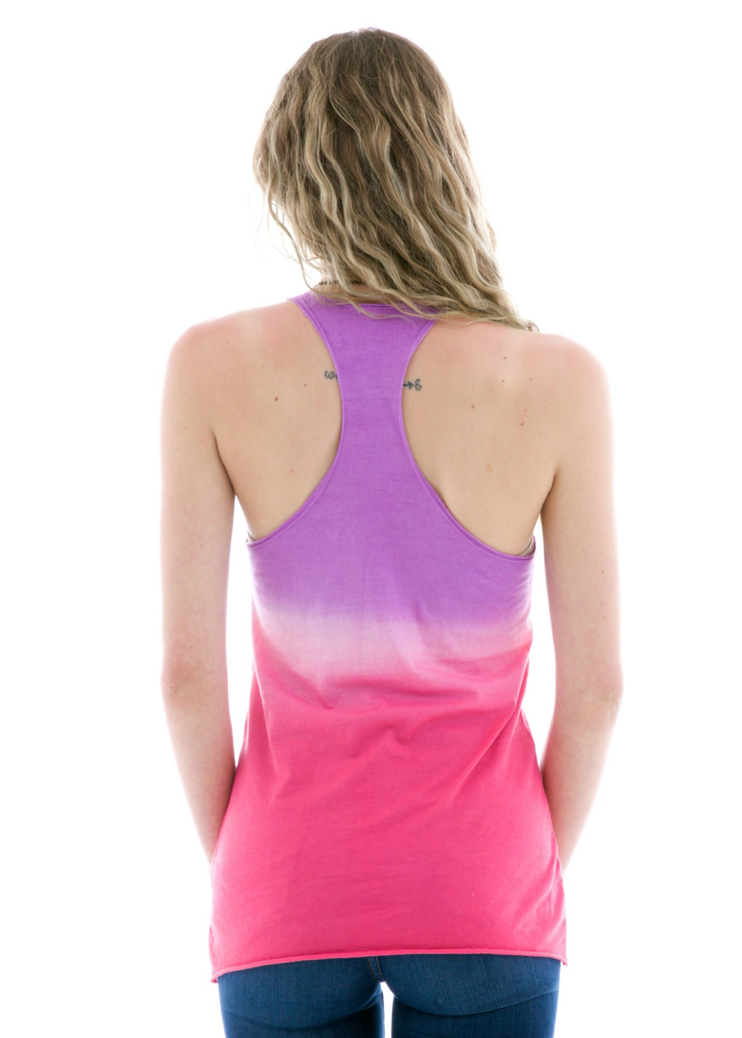 Raw Edge Tank Top in Ombre Back View