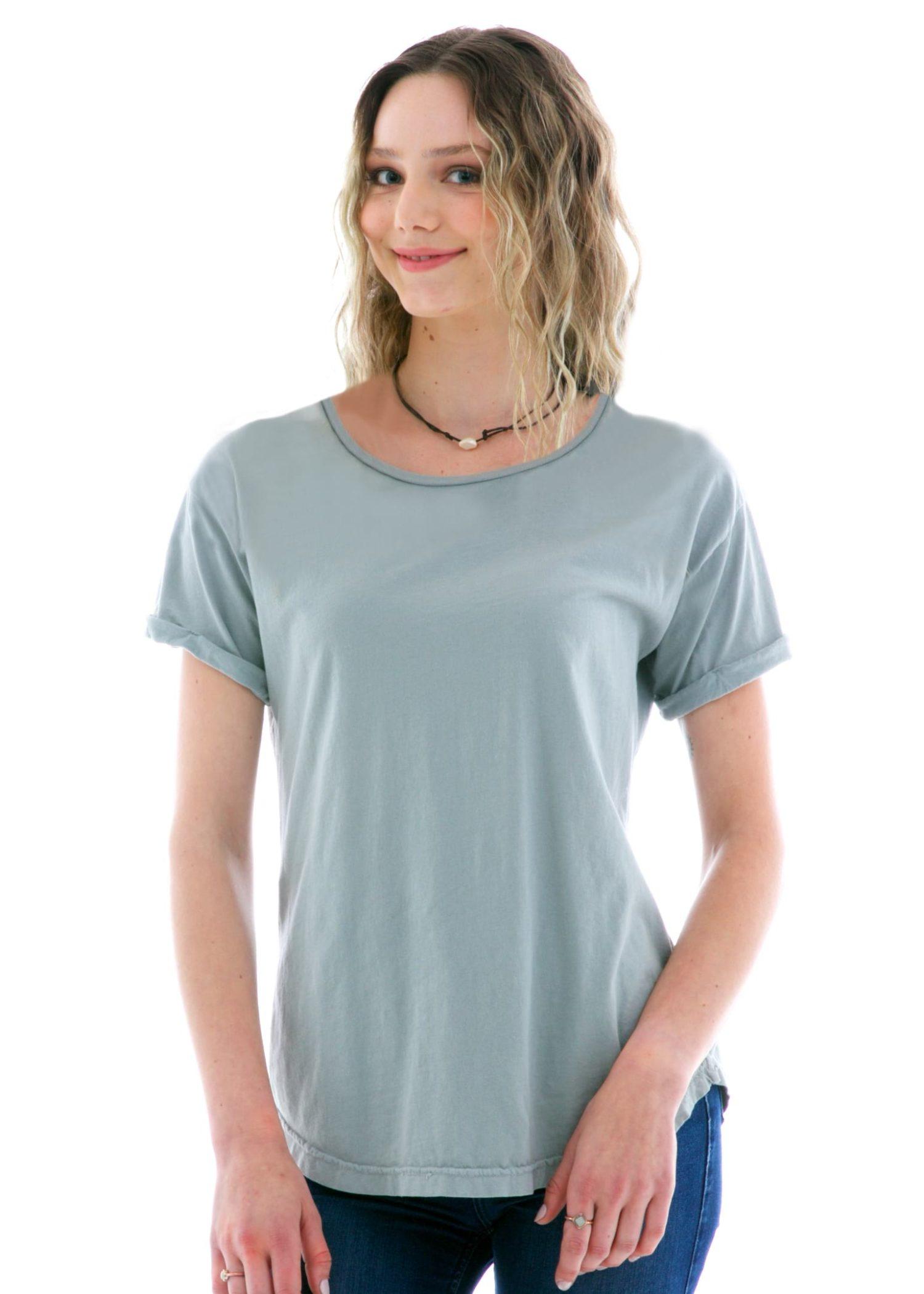 Boyfriend Rollup Crew Short Sleeve T-Shirt Front View