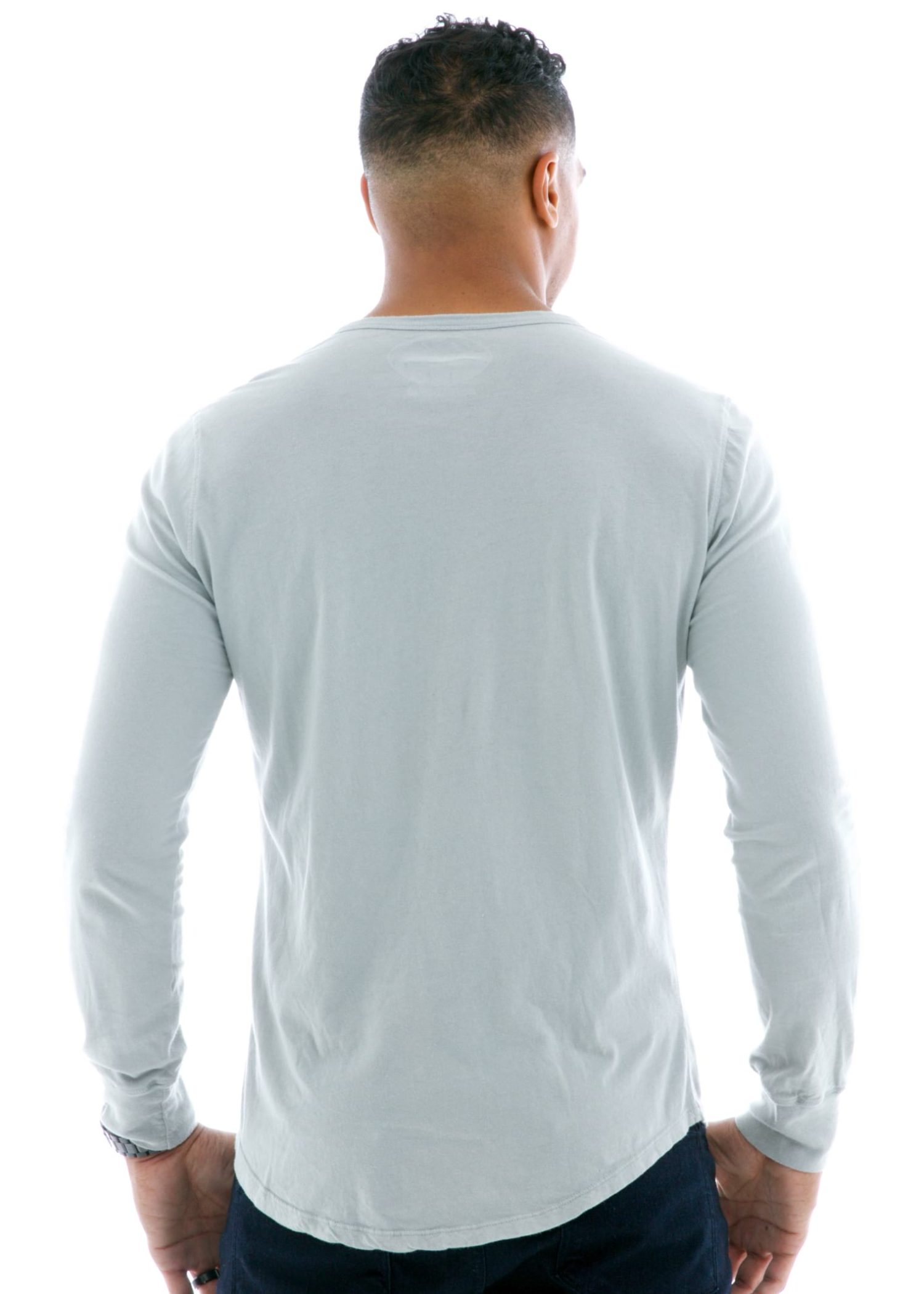 Vintage Long Sleeve Henley T-Shirt Back View