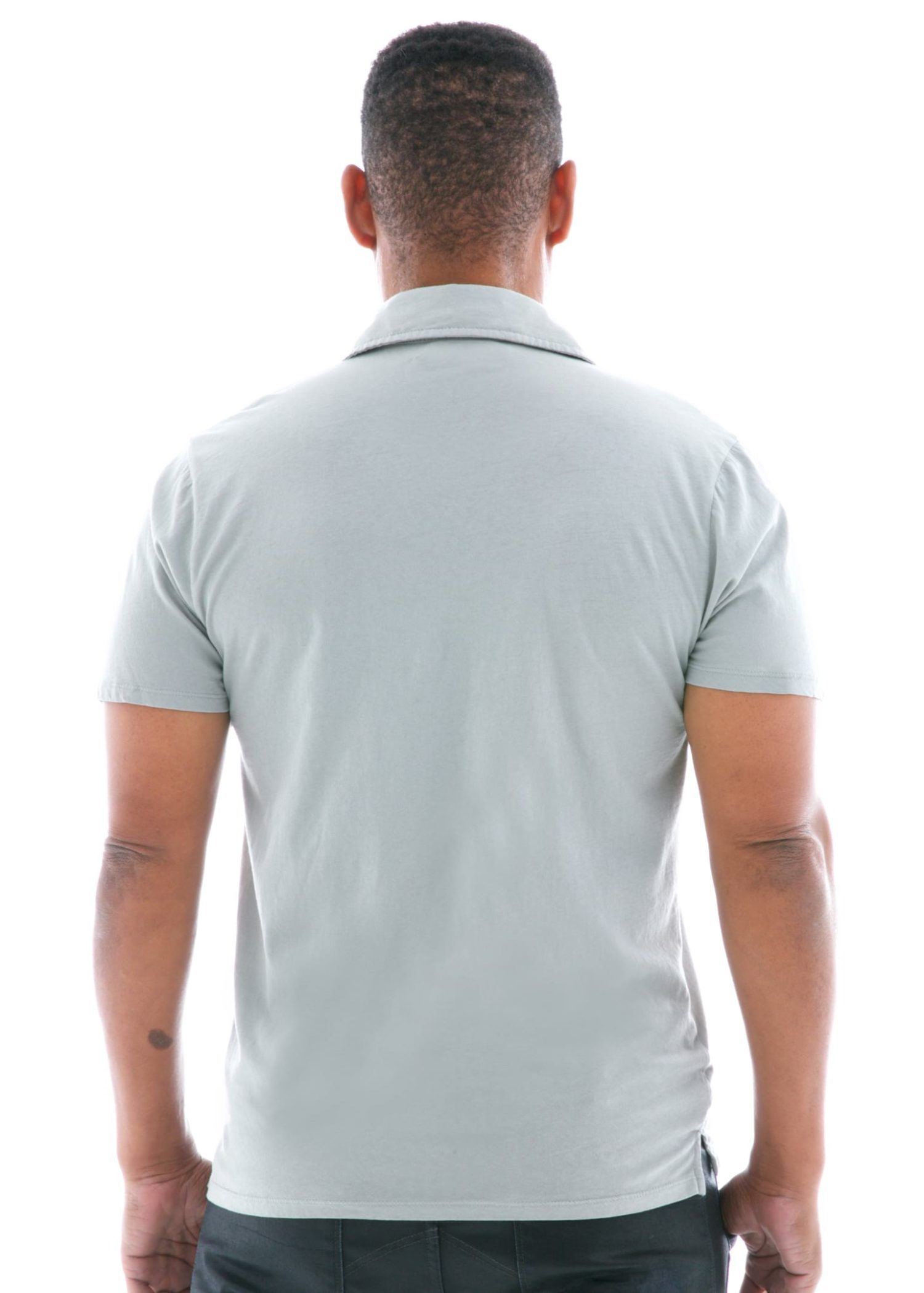 Fine Jersey Polo Short Sleeve T-Shirt Back View