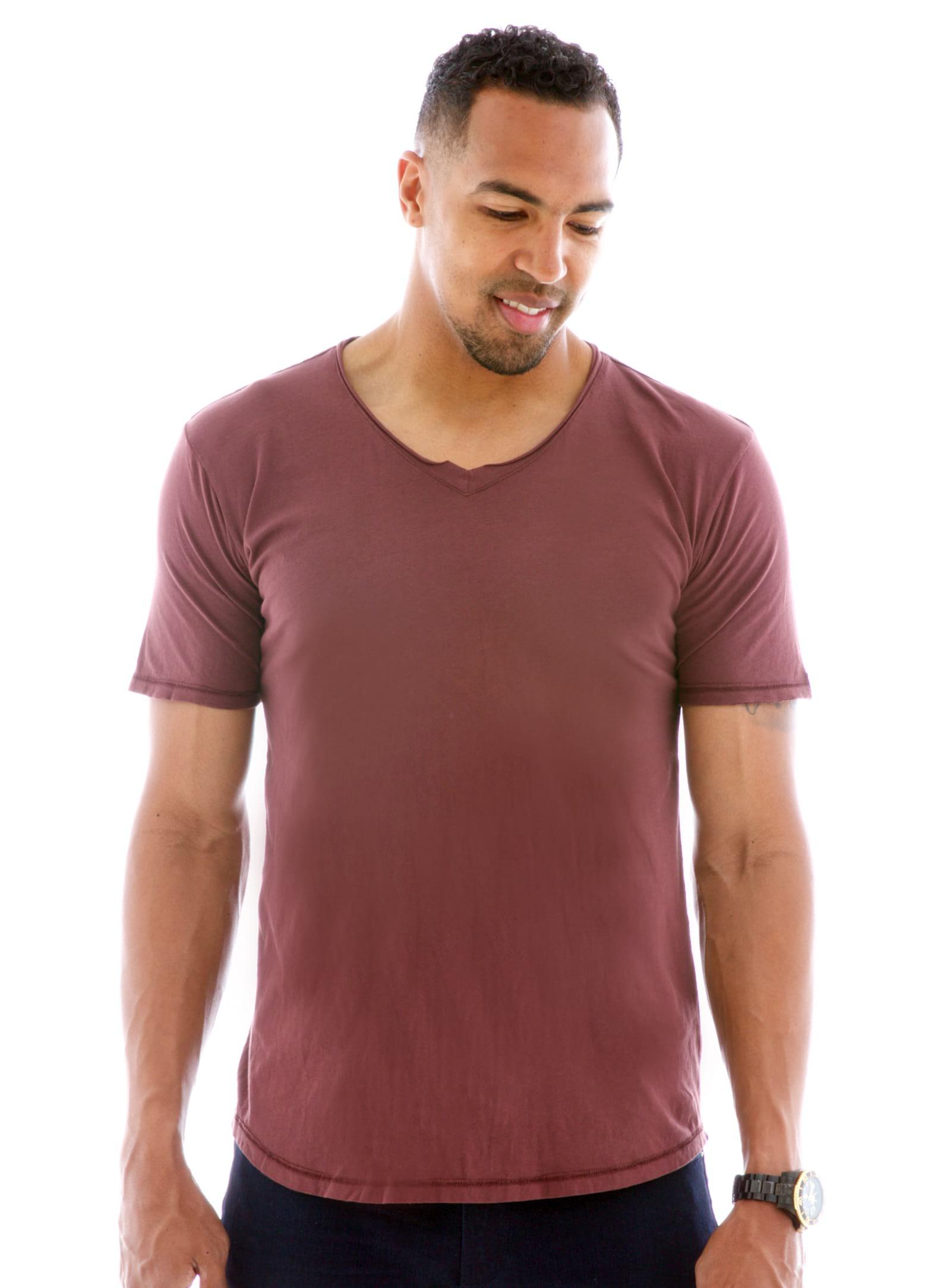 Men's Superfine Raw Double V-neck Short Sleeve T-Shirt