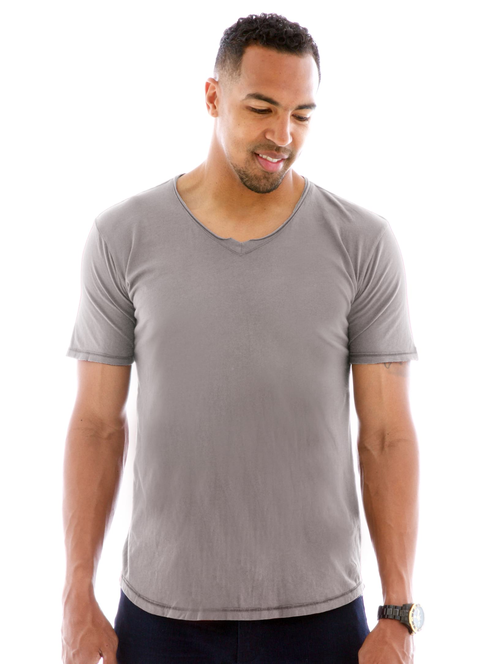 Superfine Raw Double V-neck Short Sleeve T-Shirt Front View