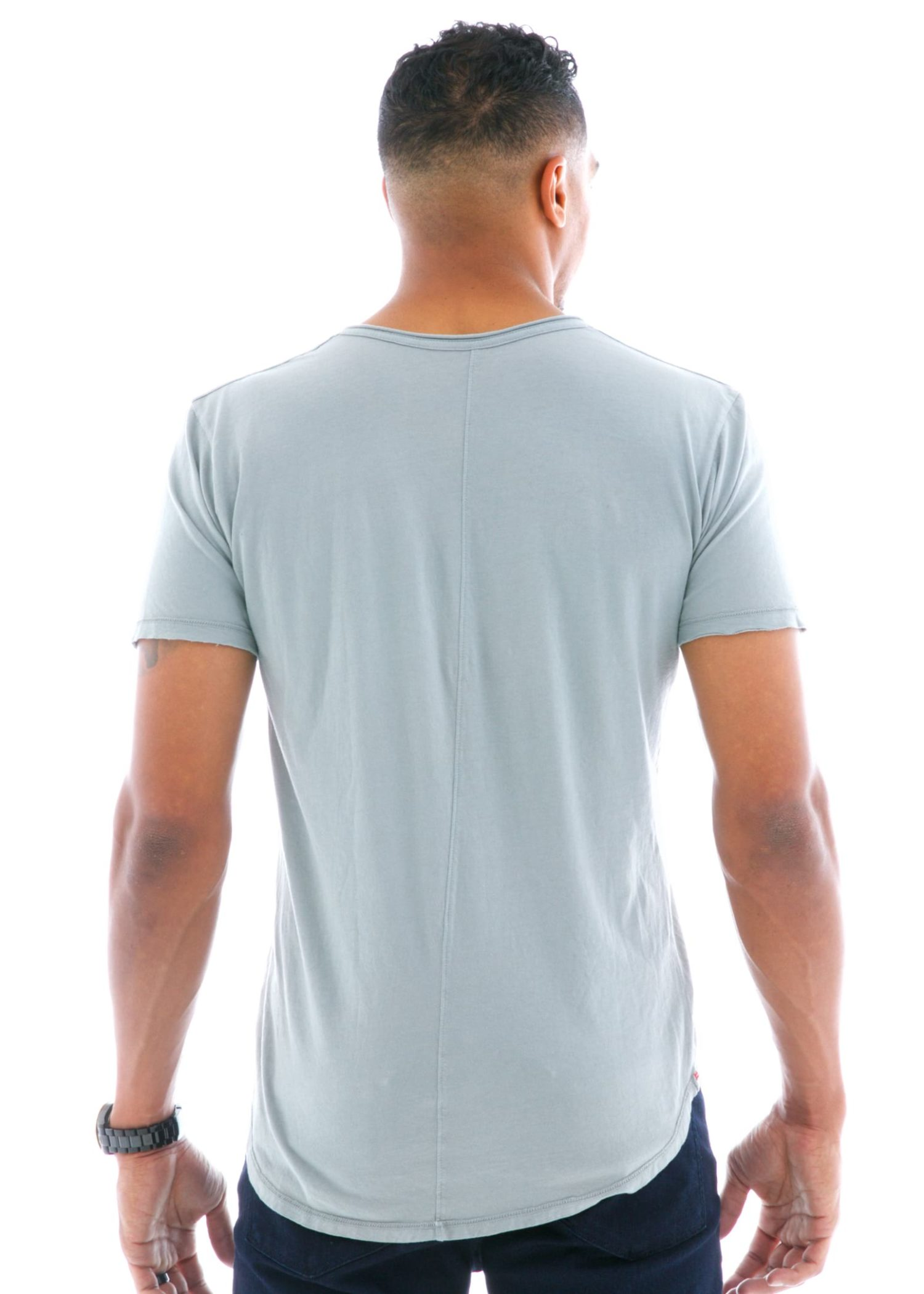 Superfine Raw Double V-neck Short Sleeve T-Shirt Back View