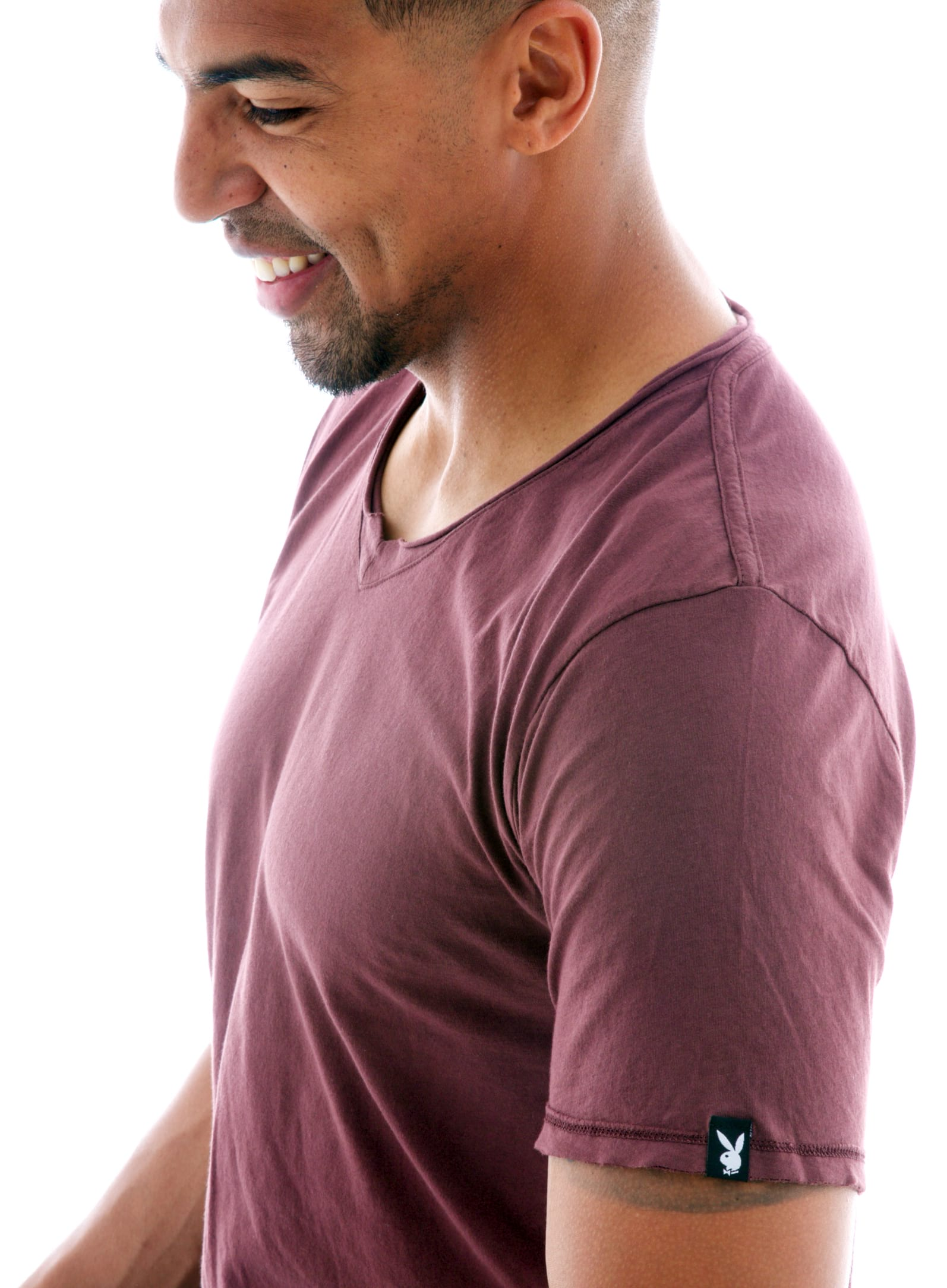 Superfine Raw Double V-neck Short Sleeve T-Shirt in Oxblood