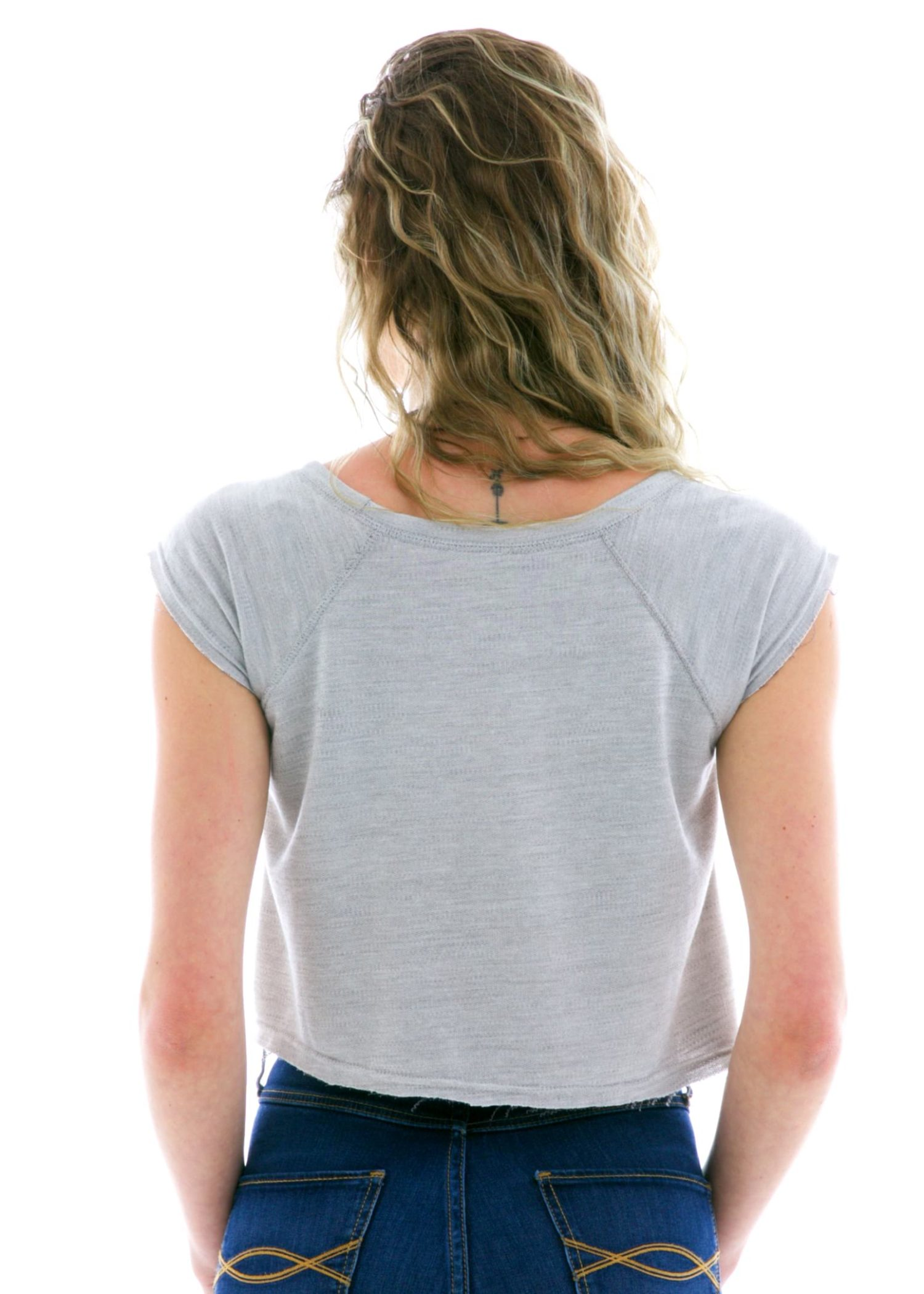 French Terry Keyhole Crop Short Sleeve T-Shirt Back View
