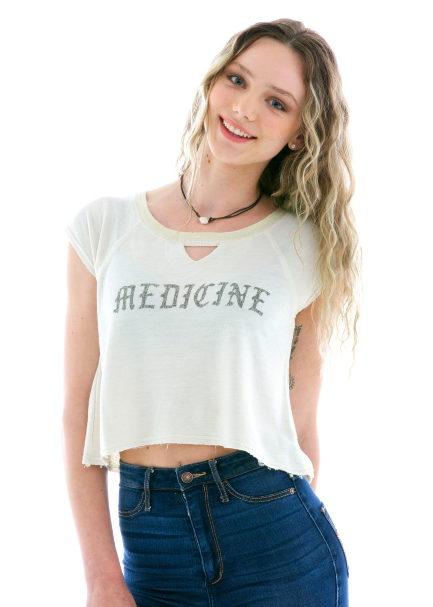 Women's French Terry Keyhole Crop Short Sleeve T-Shirt
