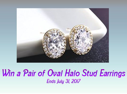 Win Oval Halo Stud Earrings
