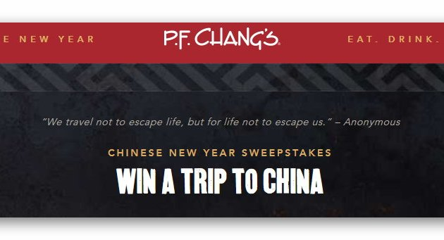 P.F. Chang's Chinese New Year Sweepstakes & Instant Win Game