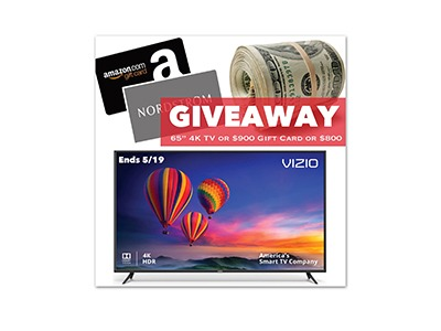 "Winner's Choice for 65"" TV, $900 Gift Card or $800 PP Cash"