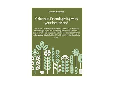 Chobani Panera Friendsgiving Sweepstakes