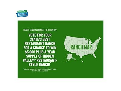 Hidden Valley Ranch $5,000 Sweepstakes