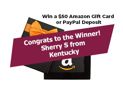 Winner $50 Amazon Gift Card or PayPal Giveaway winner photo