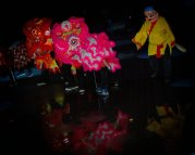 jing wo lion dance calgary 2015 earth hour olympic plaza night photography