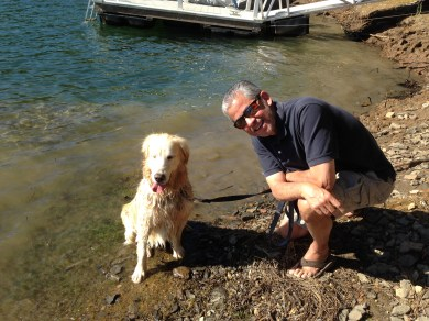 """Kali and me after her first """"swim"""" at Pine Mountain Lake"""