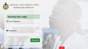 NYSC Online Portal Login Dashboard 2021