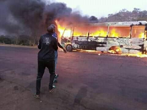 BREAKING!! Confusion As Bus Carrying Wikki Tourists Players Catches Fire