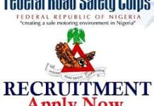 Federal Road Safety Recruitment 2021 Commence (See How to Apply)