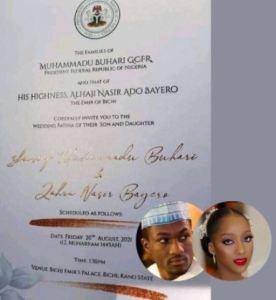 Buhari's Son Yusuf's Wedding Invitation Card That Got People Talking
