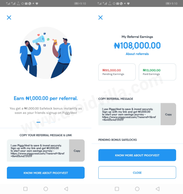 refer and earn apps in nigeria piggyvest