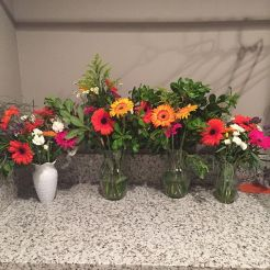 Floral arrangements made by my mom and me