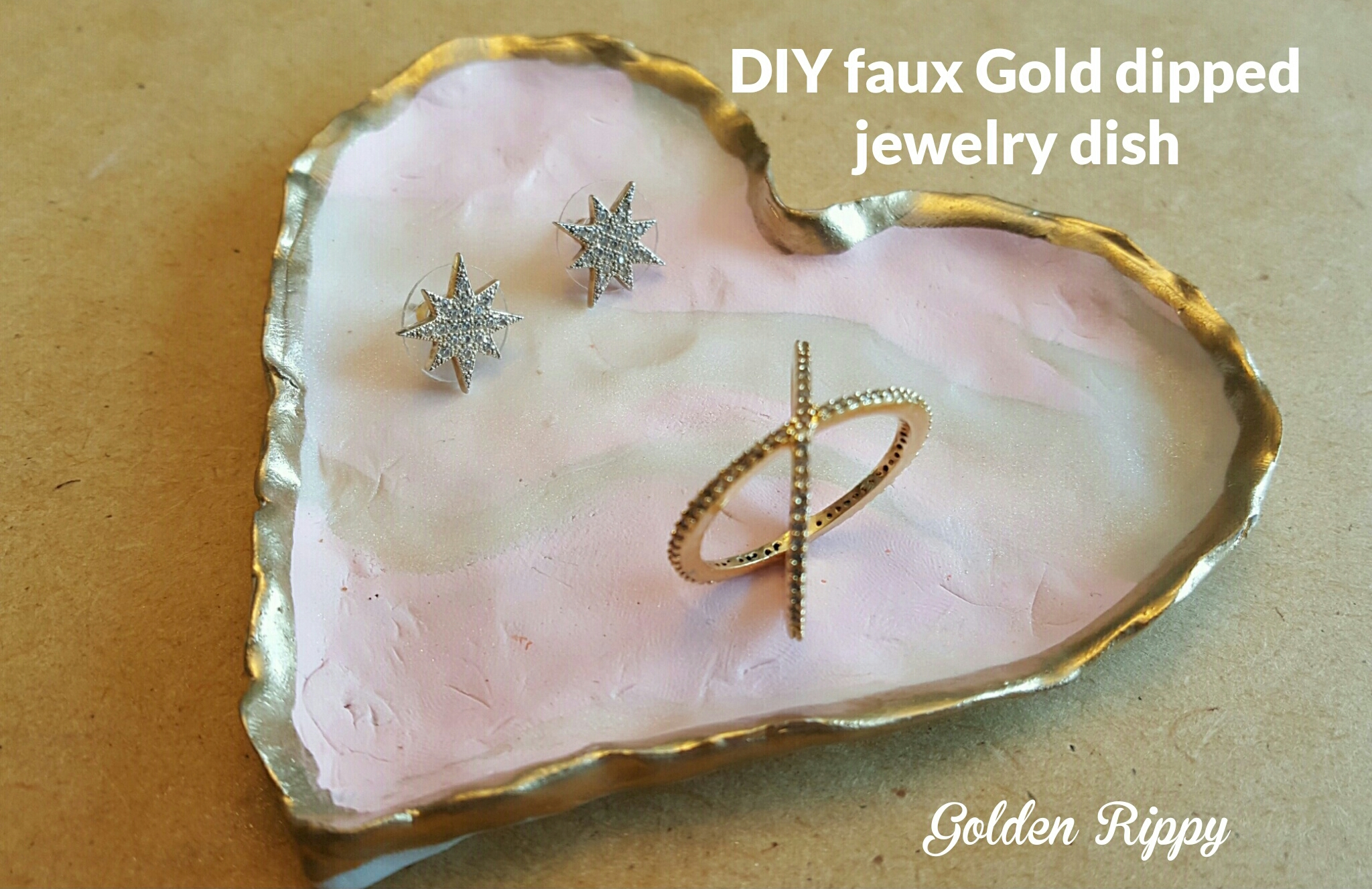 DIY Faux Gold Dipped Jewelry Dish and my 1st RocksBox Golden Rippy