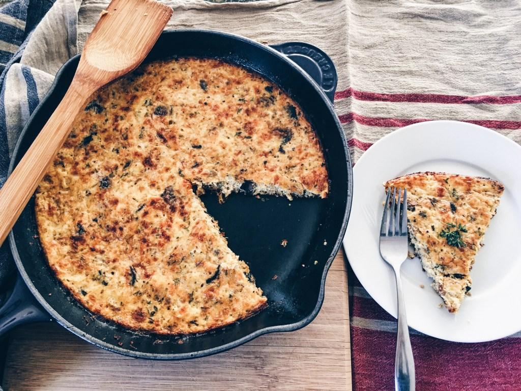 frittata, eggs, pork, cast iron pan, skillet, leeks, mushrooms, brunch