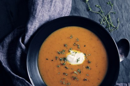 butternut squash, soup, vegetarian, winter, comfort food, thyme, seasonal, vegetables, slow cooker