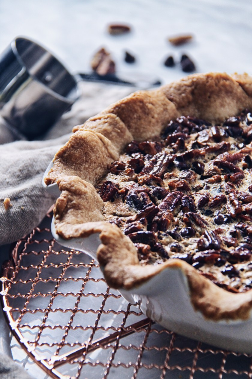 chocolate, bourbon, pecan, pie, recipe, fall, baking, autumn, holiday