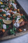 harissa, tunisian, chicken, potatoes, dinner, recipe, spicy, yogurt, greek yogurt, fresh herbs, mint, middle eastern, moroccan cuisine, moroccan cooking, easy dinner, one pan meal, sheet pan, buttermilk
