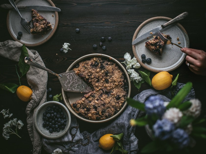 blueberry, buckle, blueberry buckle, coffee cake, fruit, crumble, cinnamon, walnut, dessert, brunch, breakfast, spring