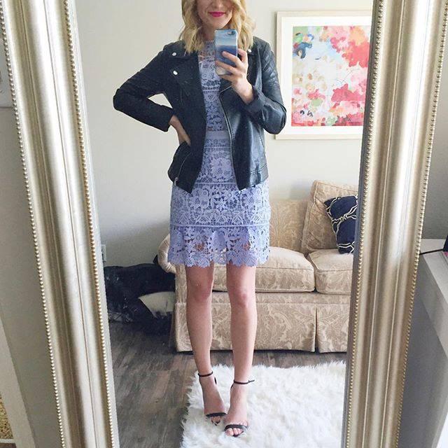 Shein Blue Side Hollow Lace A-Line Dress