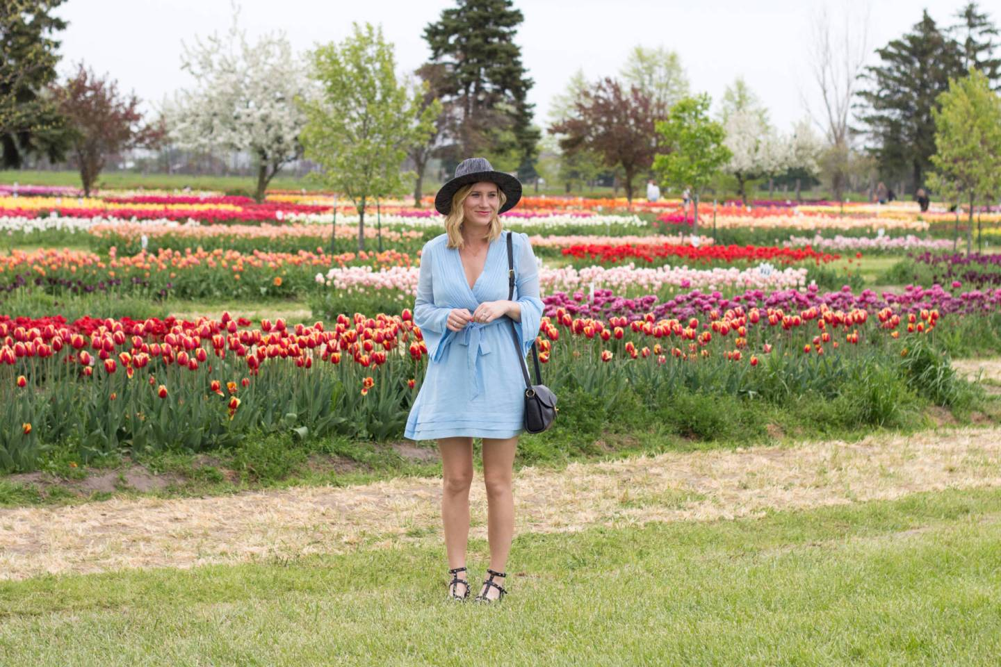 Bell Sleeves in a Flower Field.