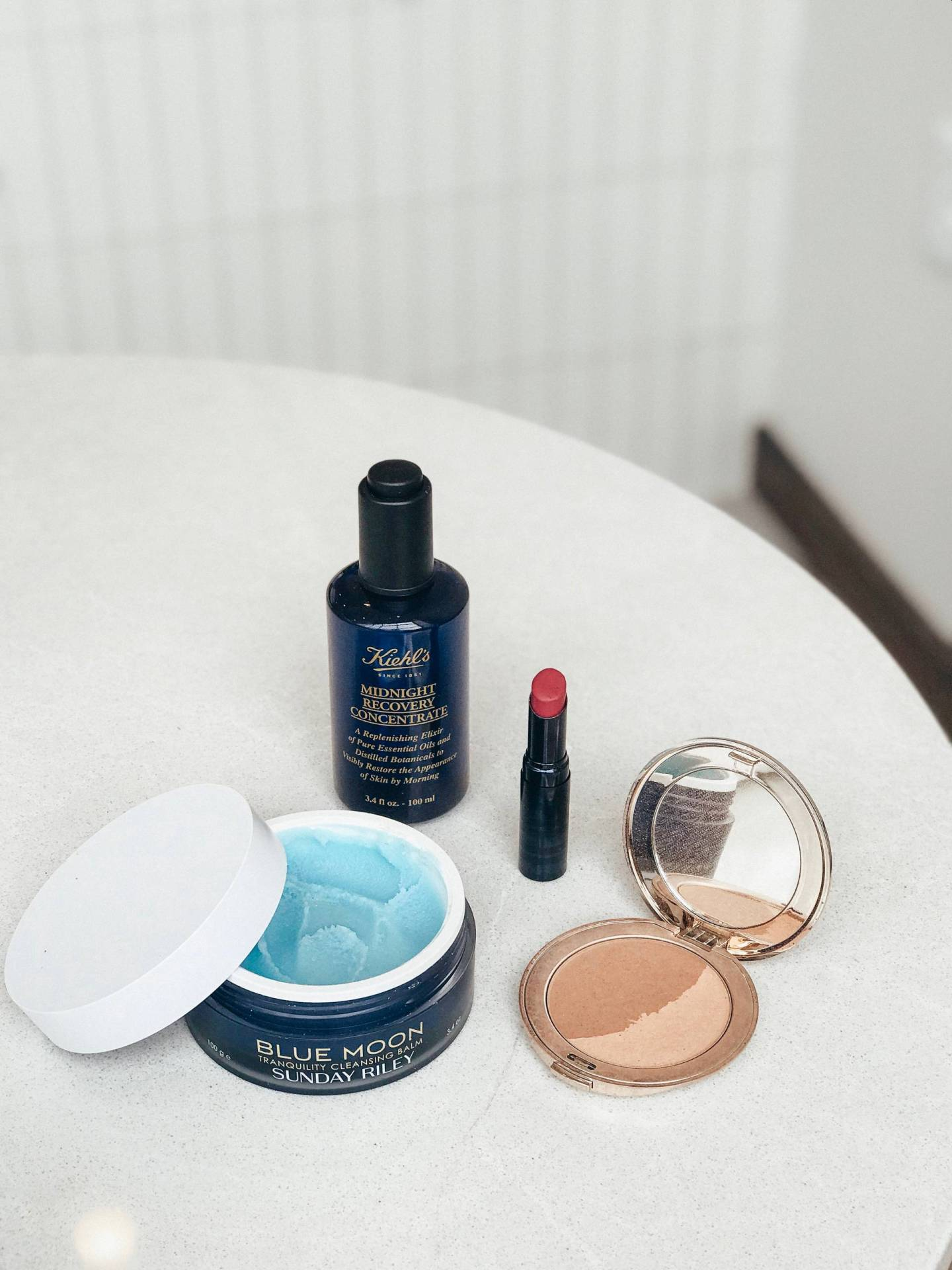 Clean Beauty Reviews vol I | Kiehl's Midnight Recovery Concentrate, Sunday Riley Blue Moon Tranquility Cleansing Balm, BeautyCounter Color Intense Lipstick & Jane Iredale Bronzing Powder