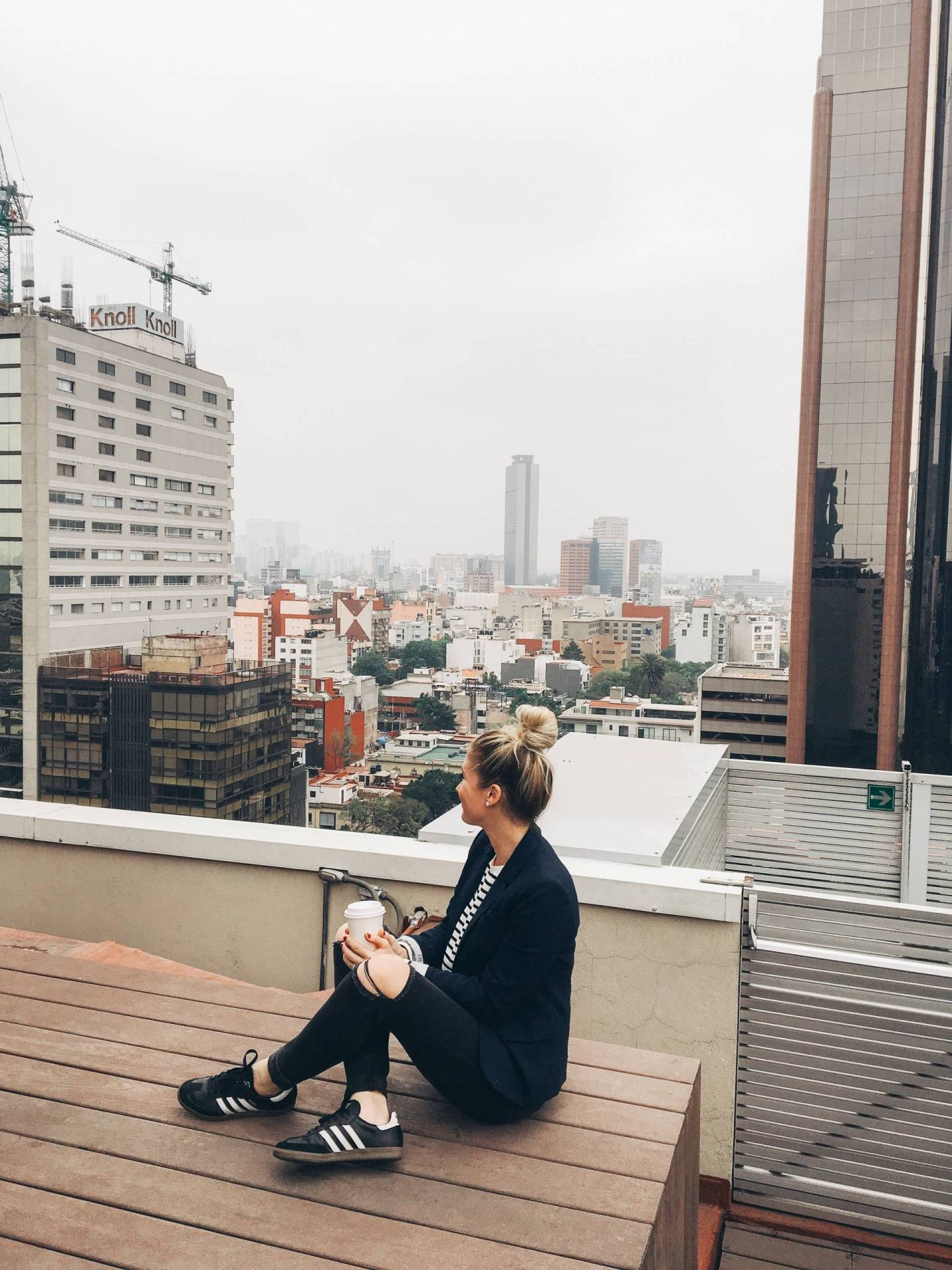 Morning Coffee on the Rooftop of the Mexico City Marriott Reforma Hotel
