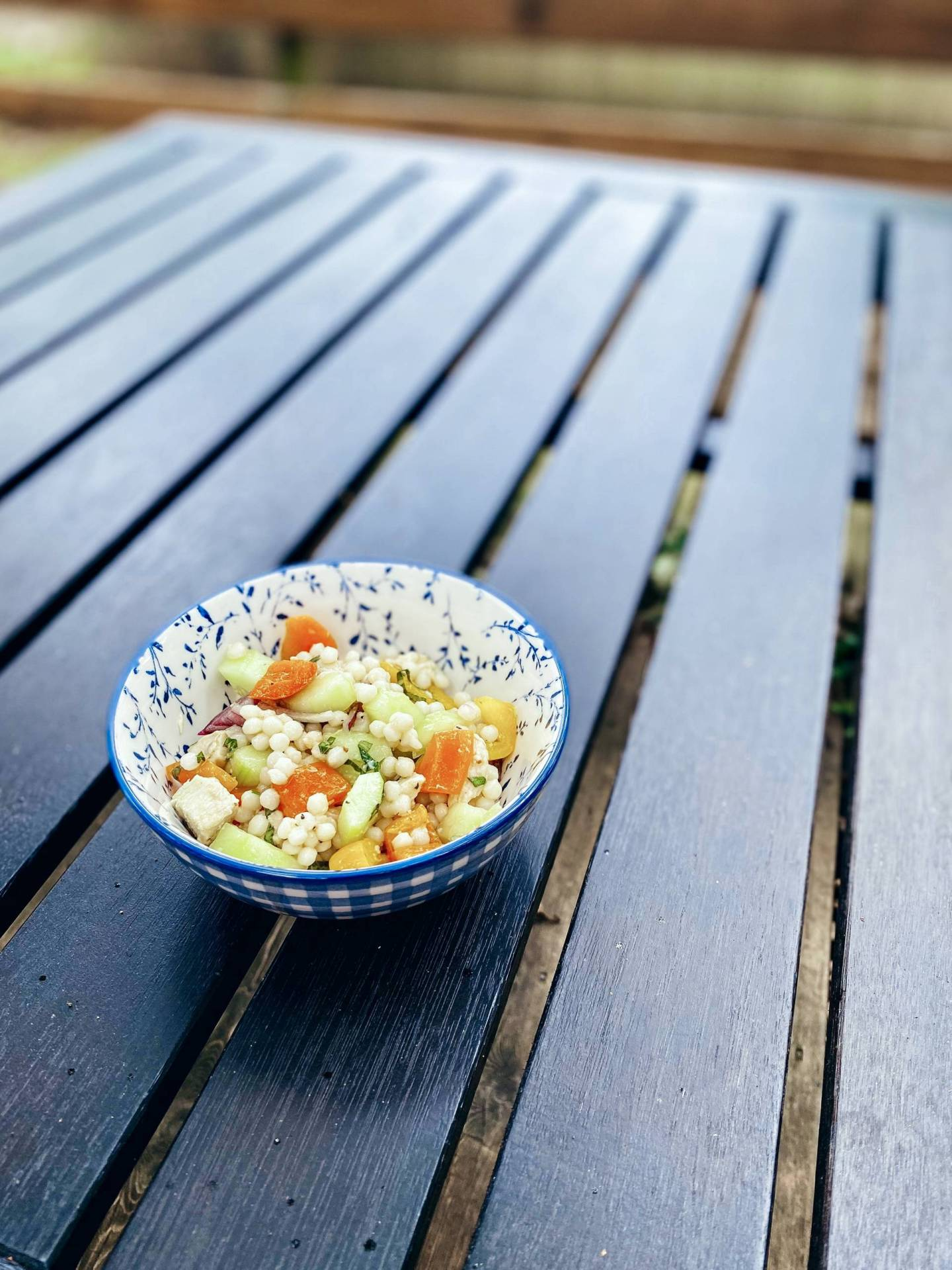 This cous cous salad is light and fresh, perfect for Summer! Plus, it can be prepped ahead and portioned out making it perfect for meal prep. Lunches for the week ready to grab and go!