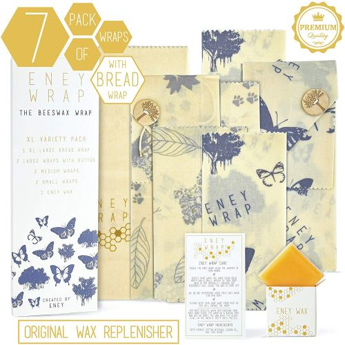 Premium Organic Beeswax Food Wrap Set Of 7 - Eco-Friendly Gifts | Low Waste Gift Ideas | Goldilocks Effect