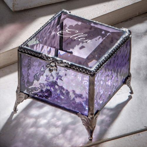 Purple Glass Jewelry Box - February Gift
