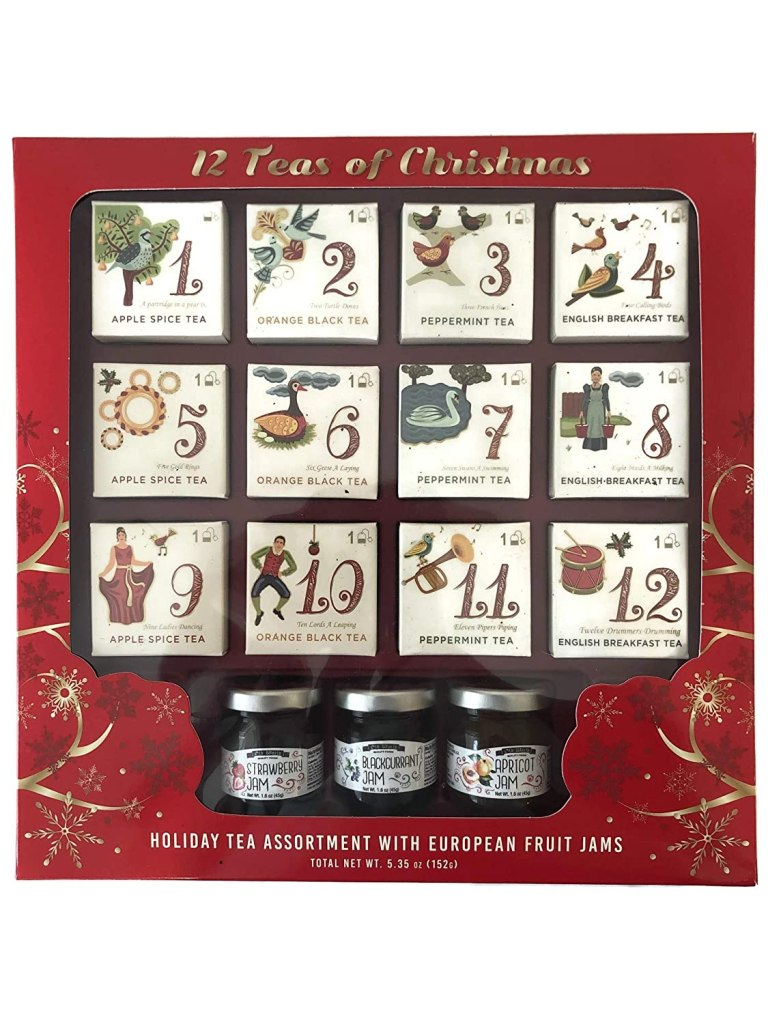 12 Gourmet Teas of Christmas with European Fruit Preserves Assortment