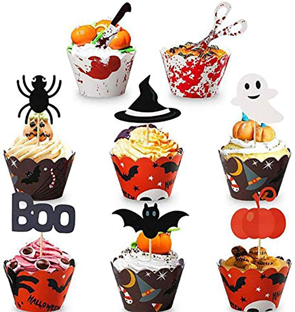Halloween Cupcake Toppers Wrappers