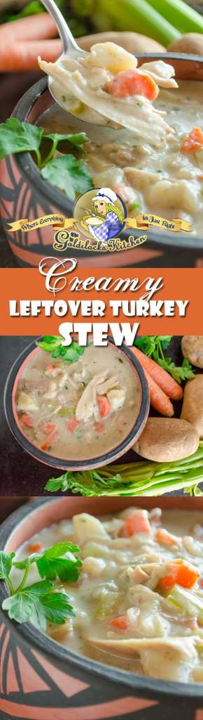 You'll enjoy this creamy leftover turkey stew more than the turkey dinner! Fresh herbs, veggies, potatoes, cream and chicken broth resurrect dry leftover turkey into something truly amazing.