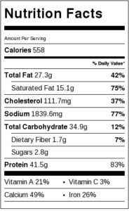 Quick Superbowl Cheesesteak sub nutrition label