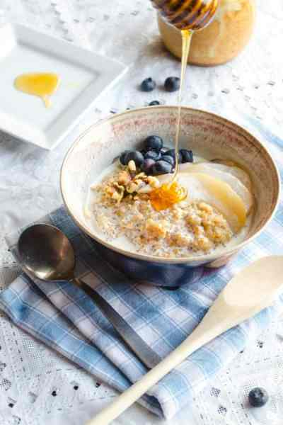 Coconut Porridge with Poached Pears