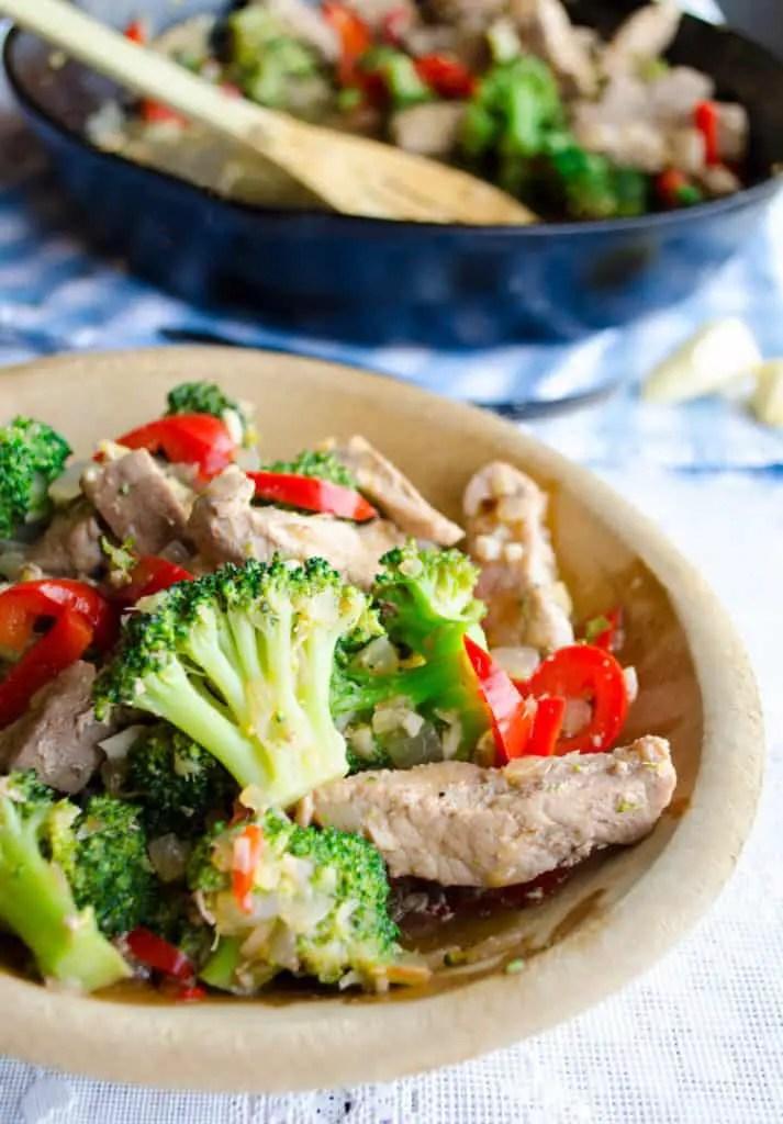 Broccoli pork stir fry close up