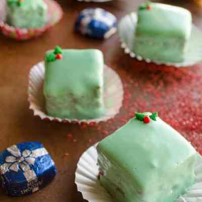 Easy Holiday Petits Fours (mini cakes)