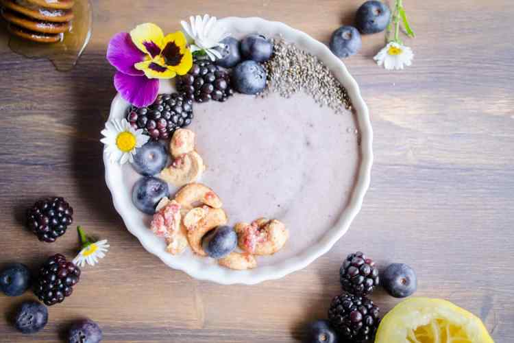 Blueberry Lemon Smoothie Bowl with Candied Cashews