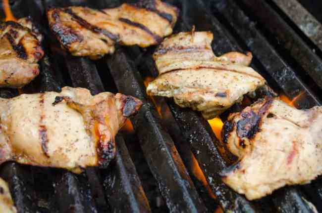 Chicken cooking on a hot grill for Southwestern Grilled Chicken Salad - The Goldilocks Kitchen